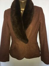 H&M Tweed Jacket Removable Faux Fur Collar Size EU34, Victoriana Riding Jacket