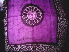 """INDIAN Handmade 100% PURA SETA MALVA & Nero Quadrato 21""""x21"""" Batik Sciarpa £ 6.95nwt"""