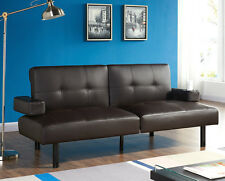 Sofa Bed Black Brown Faux Leather Cup Holder Sofabed Padded With Adjustable Arms
