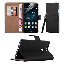 Huawei Y3- Premium Leather Slim Wallet Book Stand Case Cover Screen Protector Black