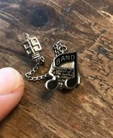 Sterling 1969 High School Lettermans 2 pc. Music Pin with Chain Sterling Silver
