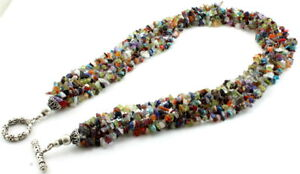 Necklace natural peridot garnet moonstone turquoise lapis carnelian gemstone 94g