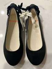 NWT J.Crew Crewcuts Girls Black Satin Ballet Flat Bow Heel Shoes Toddler 10