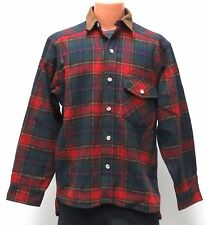 vtg Woolrich RED TARTAN WOOL Shirt MED Suede Collar Elbows 80s flannel made USA