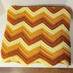 Large Vintage Chevron Afghan In Shades Of Yellow And Gold