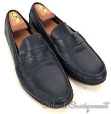 SALVATORE FERRAGAMO Solid Blue Leather Penny Loafer Mens Dress Shoes - 9.5 D