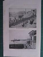 1918 WWI WW1 Estampado ~ Indio Tropas Marchando Nuevo Calle Bagdad ~ Pala