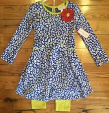 NWT Girls EMILY ROSE Blue White Green Flower Dress Legging Outfit Size 5