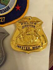 Obsolete Inkster Michigan Police Director Badge. Blackinton 24 KaratClad