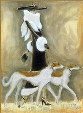 "BORZOI RUSSIAN WOLFHOUND GLAMOUR FASHION DOG FINE ART PRINT - ""ART DECO"" Style"