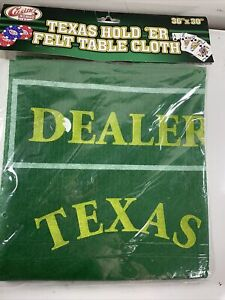"""Casino Chips Texas Hold 'ER Felt Game Table Cloth 36"""" x 30"""""""