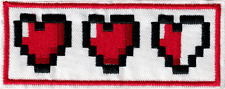 19630 Legend of Zelda Cartoon 8-Bit Hearts Video Game Embroidered Iron On Patch