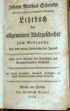 Schröckh Lehrbuch Weltgeschichte Jugend Sachsen Brandenburg Erstausgabe 1774