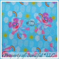 BonEful FABRIC Cotton Quilt Blue Sesame Street Rainbow Pink Abby Cadabby L SCRAP