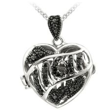 Black Diamond Accent MOM Heart Locket Necklace