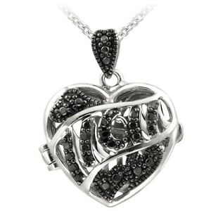 Black Diamond Accent MOM Heart Locket Necklace