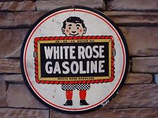 "White Rose Gasoline Metal Sign 14"" Vintage Advertising Motor Oil Gas Pump"