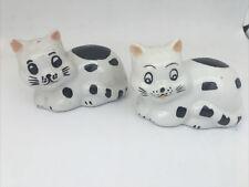 VINTAGE Set Of Black & White Ceramic CATS SALT & PEPPER SHAKERS W/ Stoppers.