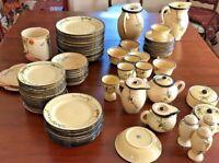 LARGE SET ART DECO hand-painted dishes Japan,basket weave 1920,s HOTTA YU SHOTE