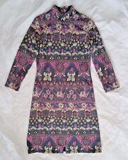 Vtg David Crystal Fashion 60s Sheath Dress Sz 12 Zip Front Mod Modcloth Retro