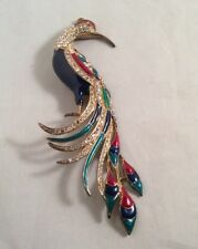 Vintage Eisenberg Ice Enamel Pave Rhinestone Parrot Bird Brooch Pin