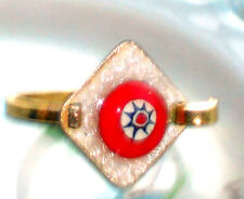 #673D Vintage Ring Guilloche Enameled Enamel Rose Handpainted Floral 6.5