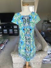 Lilly Pulitzer Green Blue Floral Printed Dress Sz M