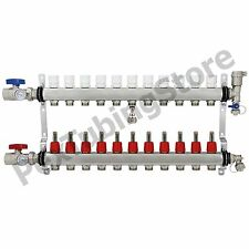 "11-Branch PEX Radiant Floor Heating Manifold Set - Stainless Steel, for 1/2"" PEX"