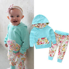 2PCS Set Baby Girls Warm Hooded Tops Coat Pants Outfits Floral Toddler Clothes