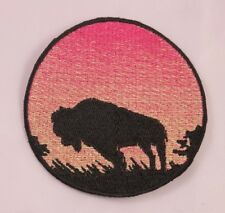 Embroidered Buffalo Bison Rose Pink Sunset Silhouette Ombre Circle Patch Iron On