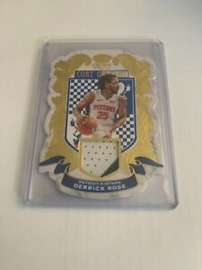 DERRICK ROSE 2020-21 CROWN ROYALE COAT OF ARMS 2-COLOR GAME WORN GOLD PATCH 3/10