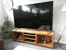 Handmade Large Solid Wood Industrial Oak Color TV Unit Stand Rustic Wide Cabine