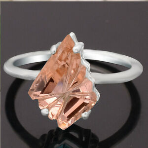Champagne Topaz Simulated 925 Sterling Silver Ring s.7 Jewelry E590