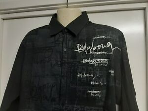 Mens Billabong Casual Shirt, Black, Long Sleeves, Size M, Poly / Cotton