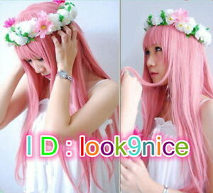MOJER Megurine Luka Cosplay Wigs Pink Full Party Hair Lolita Japan Anime