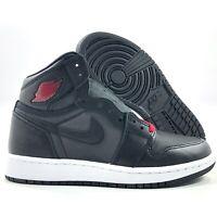 Nike Air Jordan 1 Retro High OG GS Satin Black Gym Red White 575441-060 4.5Y