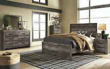 Modern Gray 5pcs Bedroom Set w/ Queen Size Bed Dresser Mirror Nightstands IA1J