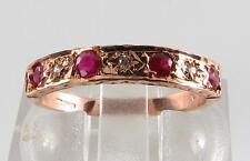 CLASSIC 9CT 9K ROSE GOLD RUBY & DIAMOND ETERNITY RING FREE RESIZE