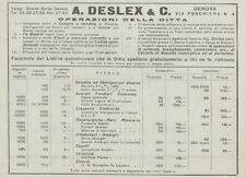 Z1994 A. DESLEX & C. Compra e Vendite rendite - Pubblicità d'epoca - 1920 Old ad