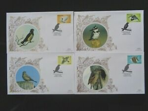 SIERRA LEONE 2009 BIRDS 4v ON 4 x BENHAM SILK FIRST DAY COVERS SG4685/88
