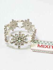 Silver Tone Aurora Borealis Crystal Snowflake Panel Stretch Bracelet Christmas