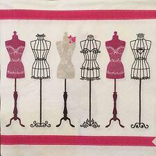 2 single paper napkins for decoupage or collection Retro La boutique de la mode