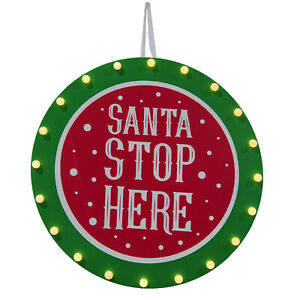 Santa Stop Here Timber LED Christmas Light Up Sign Indoor Window Decoration 56cm