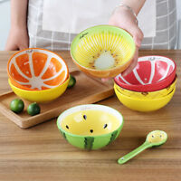 Fruits Pattern Ceramic Dinner Bowl Rice Soup Spoon Tableware Ice Dessert Bowl