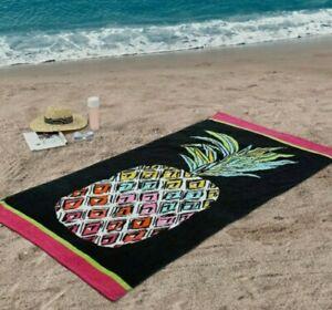 "Better Homes & Gardens Pineapple w. Black Oversized Beach / Pool Towel 38""x72"""