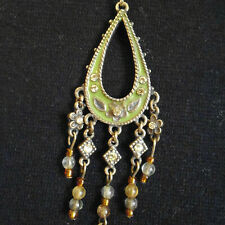 Green enameled teardrop shape pendant with green crystals & small beads