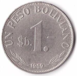 1 Peso Boliviano 1969 Bolivia Coin KM#192