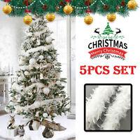 5Pcs 2M Christmas Tree White Feather Boa Home Party Xmas Ribbon Garland Decor US