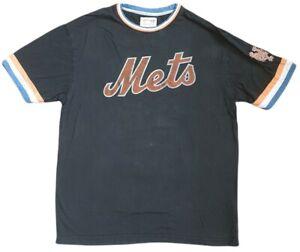 new york mets mens crew neck vintage t shirt retro casual mlb sport black size l