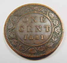 Canada 1881H Large Penny - Large 1 Cent Coin - VF20